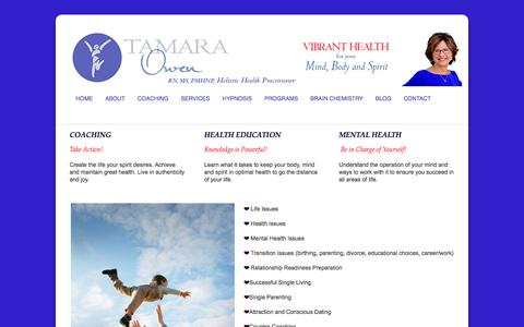 Screenshot of Services Page tamaraowen.com - Services | Tamara Owen-Mental Health Nurse Practitioner, Life Educator and Coach Portland, OR 503-788-7726 - captured Oct. 2, 2014