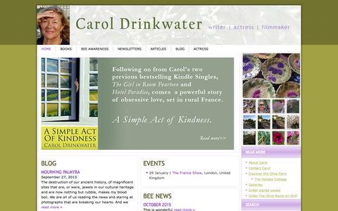 Screenshot of Home Page caroldrinkwater.com - Carol Drinkwater - captured Oct. 19, 2015