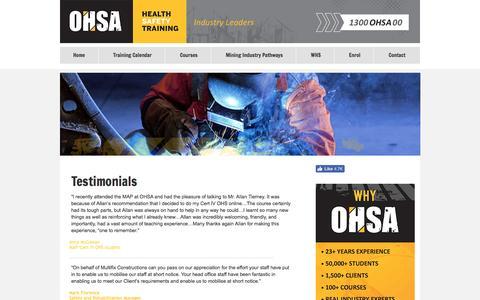 Screenshot of Testimonials Page ohsa.com.au - Testimonials - captured Nov. 29, 2016