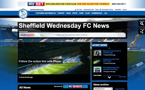 Screenshot of Press Page swfc.co.uk - Sheffield Wednesday FC News - captured Sept. 22, 2014
