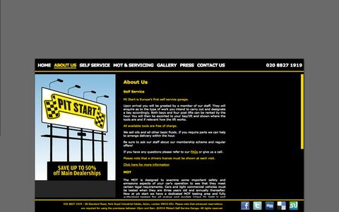 Screenshot of About Page pitstartgarage.com - Pit Start - About Us - captured Oct. 2, 2014