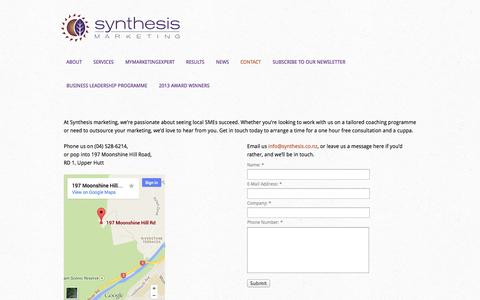 Screenshot of Contact Page synthesis.co.nz - Contact Us - captured Oct. 7, 2014