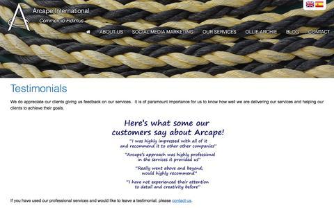 Screenshot of Testimonials Page arcape.com - Testimonials   Learn about us!   Arcape International - captured Oct. 8, 2017