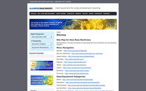 Screenshot of Site Map Page alanross.biz - Sitemap | Alan Ross Machinery Corporation - captured Oct. 4, 2014