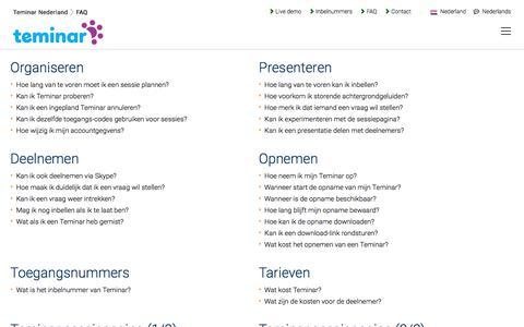 Screenshot of FAQ Page teminar.nl - Veelgestelde vragen - Teminar Nederland - captured March 4, 2018