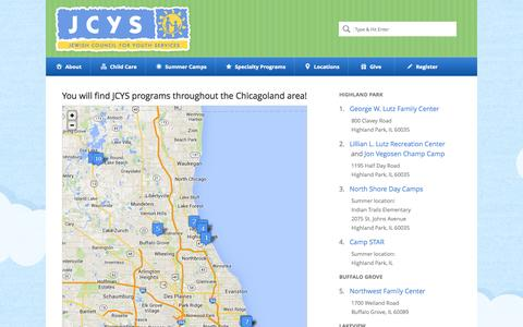 Screenshot of Locations Page jcys.org - JCYS – Jewish Council for Youth Services, Chicago |   Locations - captured Oct. 3, 2014