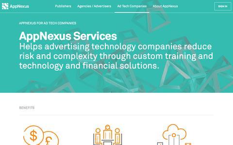 Screenshot of Services Page appnexus.com - AppNexus - AppNexus Services - captured March 31, 2016