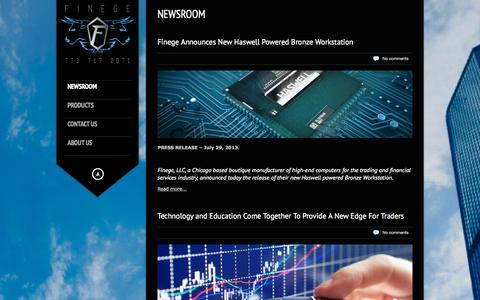 Screenshot of Home Page Press Page finege.com - Finege   Performance Inspired Design - captured Sept. 30, 2014