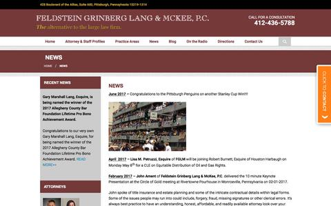 Screenshot of Press Page fglmlaw.com - Recent Firm News | Feldstein Grinberg Lang & McKee, P.C. - captured Oct. 13, 2017