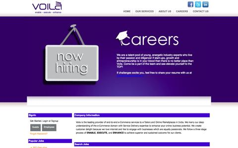 Screenshot of Jobs Page voilacommerce.in - Career in Voila Commerce Services - captured Oct. 7, 2014