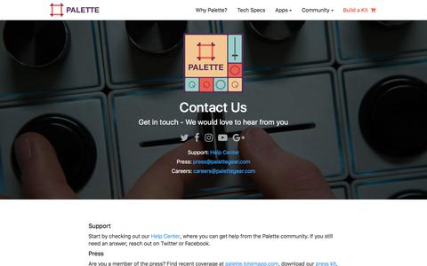 Screenshot of Contact Page palettegear.com - Palette - Contact - captured March 6, 2018