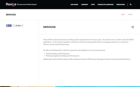 Screenshot of Services Page revize.com - Content Management Service, Design, Development, CMS Hosting, Training, Custom Consulting, Service, USA - captured Oct. 9, 2014