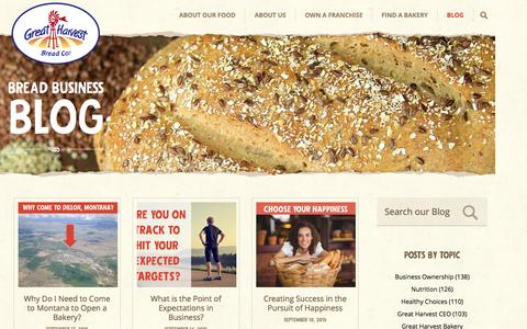 Screenshot of Blog greatharvest.com - The Bread Business Blog - captured Sept. 18, 2015