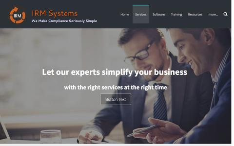 Screenshot of Services Page irmsystems.com.au - compliance management services - IRM Systems - captured Feb. 11, 2016