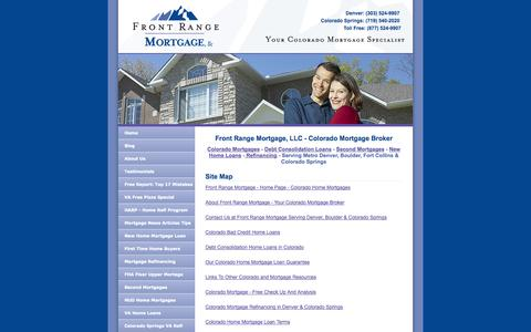Screenshot of Site Map Page frontrangemortgage.com - Colorado Mortgage: Denver Home Loans at Internet Prices - captured Oct. 6, 2014