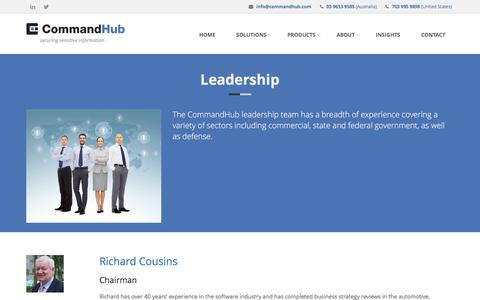 Screenshot of About Page Team Page commandhub.com - CommandHub | Leadership - captured Dec. 10, 2015