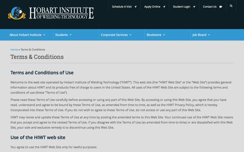 Screenshot of Terms Page welding.org - Terms & Conditions - Hobart Institute of Welding Technology - captured Nov. 10, 2016