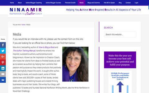 Screenshot of Press Page ninaamir.com - Media - Nina Amir - captured Feb. 25, 2018