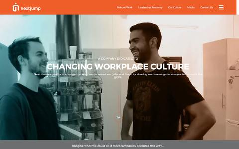 Screenshot of Home Page nextjump.com - Next Jump – Change the World By Changing Workplace Culture - captured Sept. 2, 2016