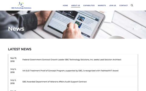 Screenshot of Press Page sbgts.com - News – SBG Technology Solutions - captured Nov. 16, 2019