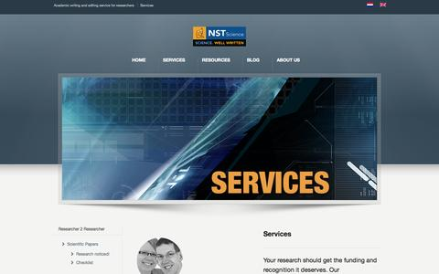 Screenshot of Services Page nstscience.nl - Get the funding for your research - NST Science services | NST Science - captured Oct. 29, 2014
