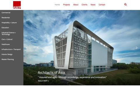 Screenshot of Home Page awparchitects.com - Home | AWP Architects - captured July 28, 2018
