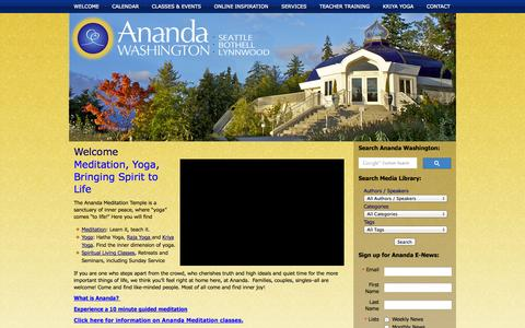 Screenshot of Home Page anandawashington.org - Ananda Washington - captured Oct. 4, 2014