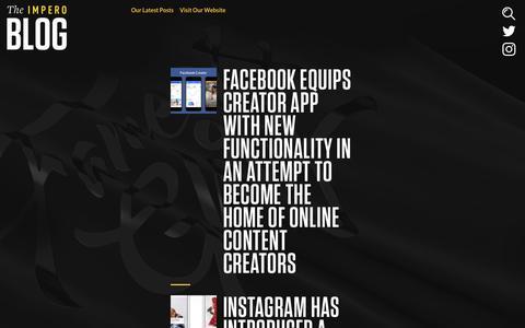Screenshot of Blog weareimpero.com - Impero, A London creative ad agency | Impero, A London creative, ad & social agency - captured Oct. 11, 2018