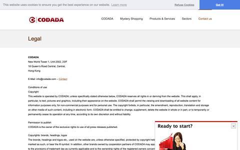 Screenshot of Terms Page codada.com - Legal - CODADA - captured Nov. 5, 2018