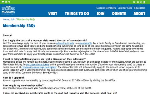 Screenshot of FAQ Page childrensmuseum.org - Membership FAQs | The Children's Museum of Indianapolis - captured Sept. 24, 2018