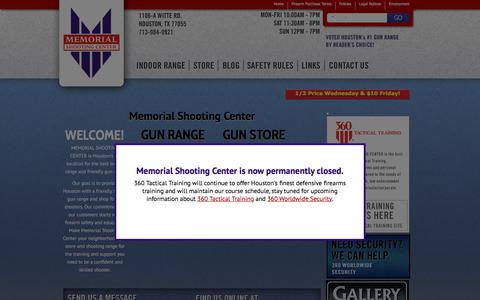 Screenshot of Home Page memorialshootingcenter.com - Houston Shooting Range, Concealed Handgun License Classes, & Guns for Sale - captured Sept. 20, 2018