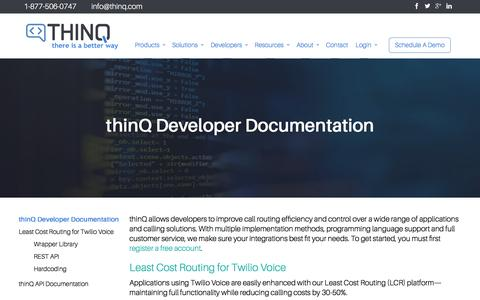 Screenshot of Developers Page thinq.com - Developer Documentation - THINQ - Better Voice & Messaging for Telcos, Contact Centers, & Enterprises - captured July 12, 2018