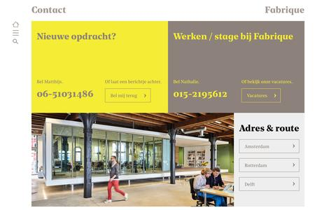 Screenshot of Contact Page fabrique.nl - Contact | fabrique.nl - captured April 24, 2017