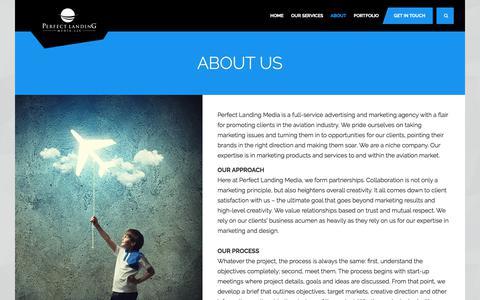 Screenshot of About Page perfectlandingmedia.com - Perfect Landing Media, LLC. - About - captured July 22, 2017