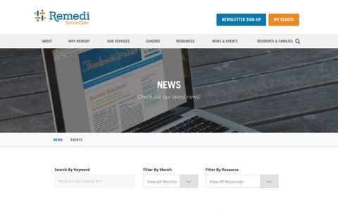 Screenshot of Press Page remedirx.com - News | Remedi SeniorCare - captured Feb. 14, 2016