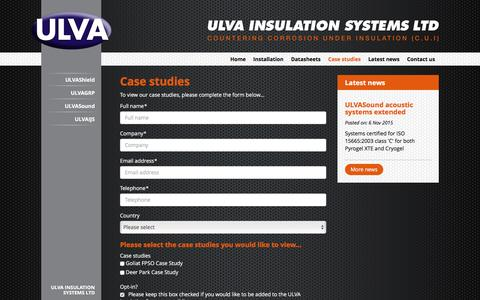 Screenshot of Case Studies Page ulva.co.uk - ULVA Insulation Systems Ltd - Case Studies - captured Feb. 2, 2016
