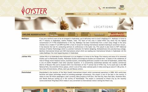 Screenshot of Locations Page oystergroup.in - Locations:: Luxury hotel Hyderabad, close to the International Airport and near Hi-tech City offers discount on hotel Rooms – Location - captured Oct. 8, 2014
