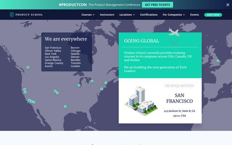 Screenshot of Locations Page productschool.com - Locations - Product School - Product School - captured Oct. 23, 2018