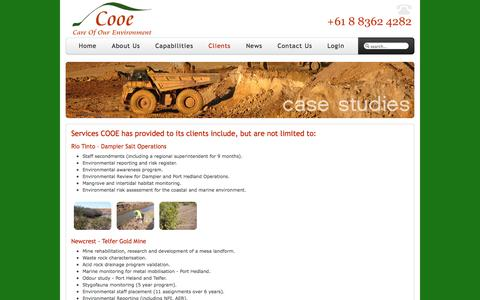 Screenshot of Case Studies Page cooe.com.au - Services COOE has provided to its clients include, but are not limited to: - captured Oct. 1, 2014