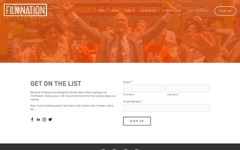Screenshot of Signup Page filmnation.com - Sign Up — FilmNation Entertainment - captured Nov. 25, 2016