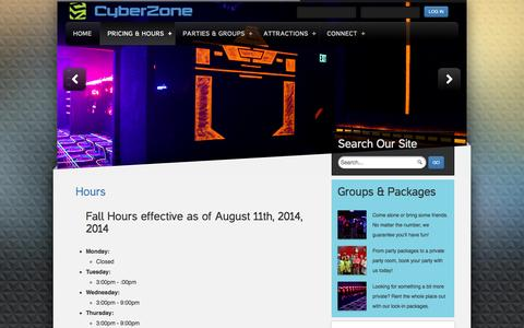 Screenshot of Hours Page cyberzone334.com - Hours - captured Oct. 3, 2014