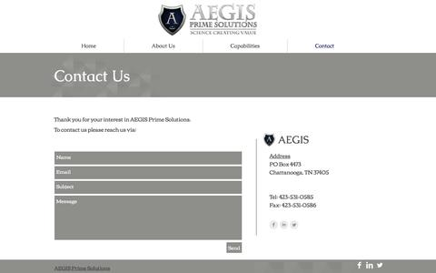 Screenshot of Contact Page aegisprime.com - Contact - captured Oct. 6, 2017
