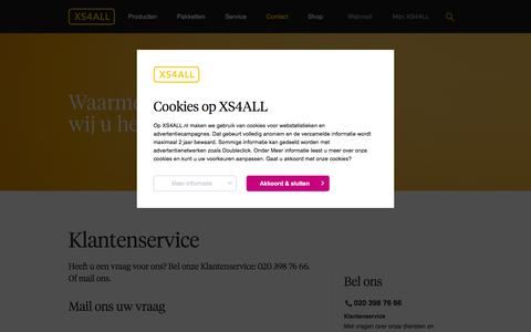 Screenshot of Contact Page xs4all.nl - Contact | XS4ALL - captured Jan. 13, 2016