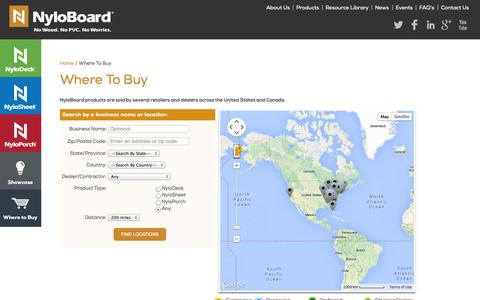 Screenshot of Locations Page nyloboard.com - Where To Buy | NyloBoard - captured Oct. 26, 2014