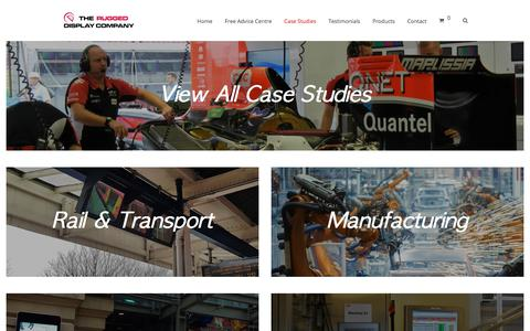 Screenshot of Case Studies Page flatvision.co.uk - Case Study Categories - Flat Vision Products - The Rugged Display Company - captured July 20, 2018