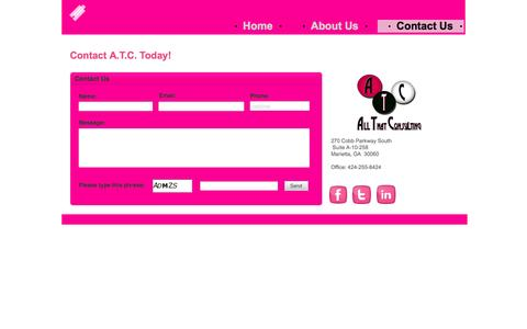 Screenshot of Contact Page allthatconsulting.com - Contact A.T.C. - captured Sept. 30, 2014