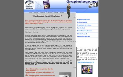 Screenshot of Home Page graphology.net - Handwriting Analysis On-line Catalog ,Free on-line reports to learn Handwriting Analysis by leading     handwriting expert Bart Baggett l - captured June 15, 2016