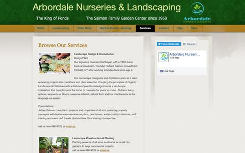 Screenshot of Services Page arbordale.com - Landscaping | Pond | Garden Services - captured Oct. 4, 2018