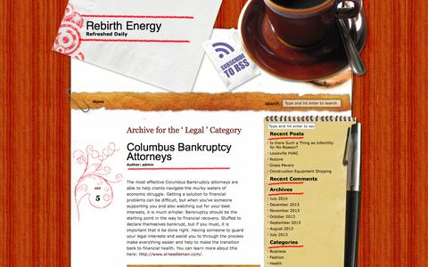 Screenshot of Terms Page rebirthenergy.com - Legal :Rebirth Energy - captured Oct. 7, 2014