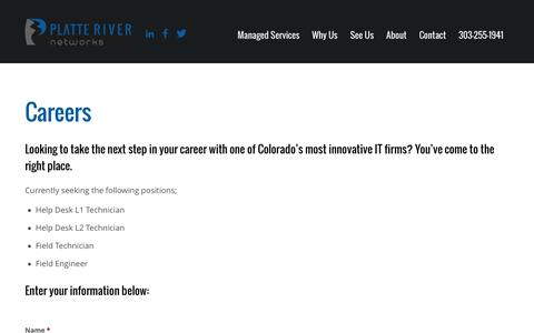 Screenshot of Jobs Page platteriver.com - IT Careers at Platte River Networks - captured Feb. 4, 2017